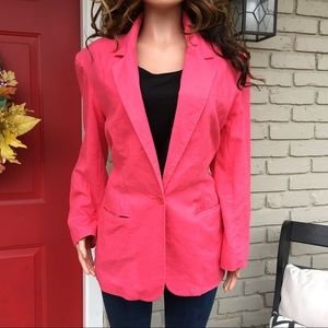 Hot pink linen blend blazer